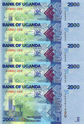 LOT, Uganda 2000 Shillings (2010) p50a x 5 PCS UNC