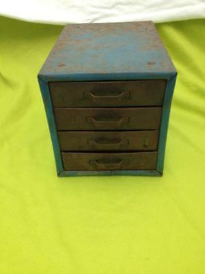 Vintage Barn Find Small 4 Drawer Industrial Metal Cabinet Parts Bin Storage