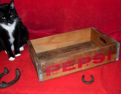 Nice Old Antique Vintage Pepsi Soda Pop Wood Box Wooden Crate Case Steel Corners