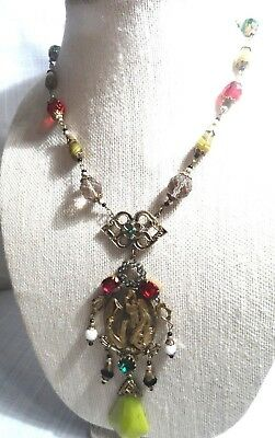 "Art Deco CZECH Egyptian Revival Multi-color  ""Lady with Flower"" Pendant Necklace"