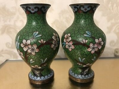 """PAIR OF 2 VINTAGE CHINESE CLOISONNE FLORAL VASES GREEN & PINK-3 2/8"""" Free Ship"""