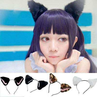 Women's Fur Ears Cosplay Anime Neko Costume Plush Cat Ears Hair Headband x 1
