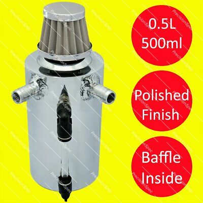 Baffled Polished Oil Breather Tank With 13mm 1/2 Inlets + Stainless Steel Filter