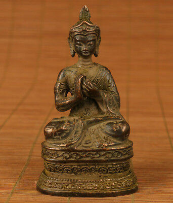 Rare Chinese Old Bronze Handmade Carved Buddha blessing Statue Home decoration