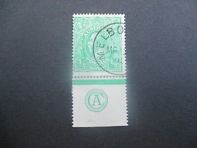 KGV Stamps: 1/2d green CTO with monogram - Rare  (w2)
