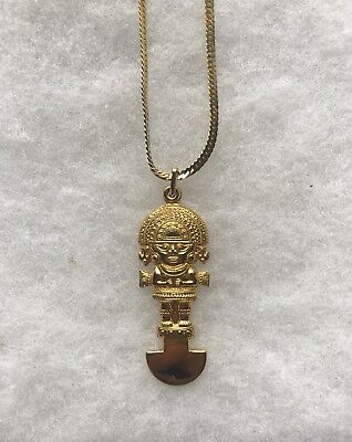 1984 Peru World's Fair Gold Plated Pendant and Necklace