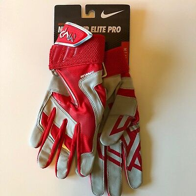 NWT Nike MVP ELITE PRO Adult Batting Gloves RED GRAY Premium Leather GB0376