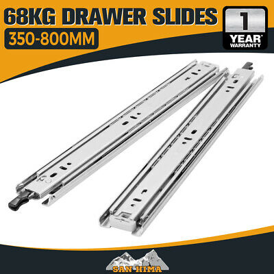 68KG Locking Drawer Slides Runners 60KG Lengths 350mm to 800mm Draw Trailer 4wd