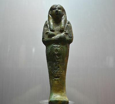 ANCIENT EGYPT ANTIQUE EGYPTIAN green faience USHABTI 24 cm 1500–300 BC)