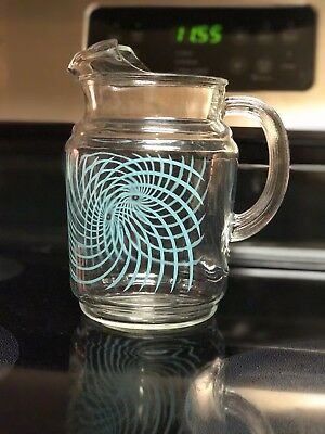 Vintage Federal Blue Scroll Glass Pitcher Mid Century RARE