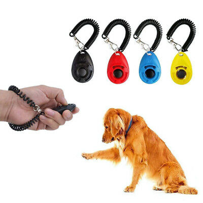 Pet Dog Cat Button Click Clicker Oval Training Trainer Obedience Aid Wrist Strap