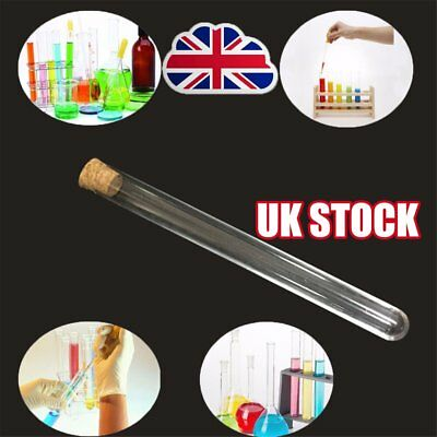 100pcs Glass Test Tube Round Bottom with Cork Stopper Borosilicate Chemistry Y8