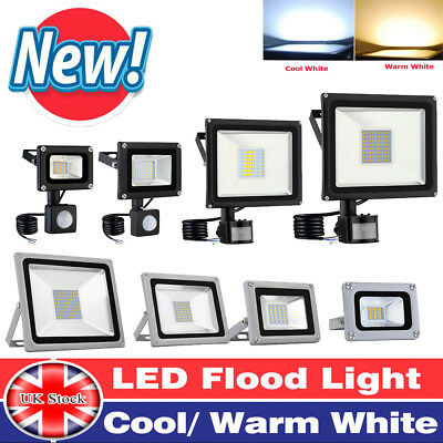 LED Floodlights 10/20/30/50/100W Powered PIR Garden Outdoor Cool/Warm Light UK