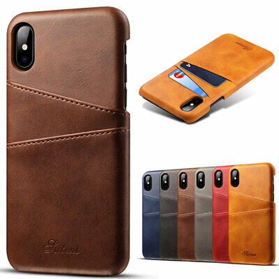 For iPhone XS Max XR Leather Wallet Card Slot Holder Back Cover Case