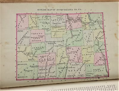 1887 antique CENTENNIAL HISTORY of SUSQUEHANNA CO PA illus MAP 851pgs genealogy