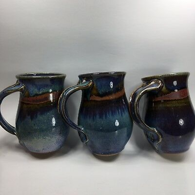 Lot of 3 Stoneware Mugs Slim Cups Pottery Green Blue Handmade USA in Art Studio