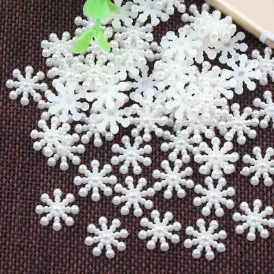 Hot 100pcs/bag Snowflake Flatback Pearl Embellishments Christmas Craft  DIY Tool