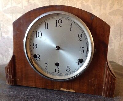 Antique Oak Mantle Clock Three Train Westminster Chime 26x20x14cm Kenilworth