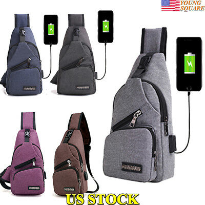 Men Polyester Small Sling Chest Bag Crossbody Backpack Usb Charging Fanny Bags