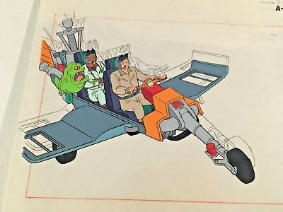 Real Ghostbusters Animation Production Art Cel Ecto 2 Ray Winston Slimer Plane