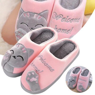 Cute Cozy Cat Paw Slippers Women Home Warm Winter Slippers Indoor Home Shoes 4-8