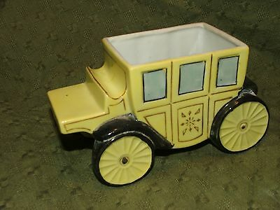 Vintage Gold Castle Stagecoach Carriage Stage Coach Figural Planter Japan