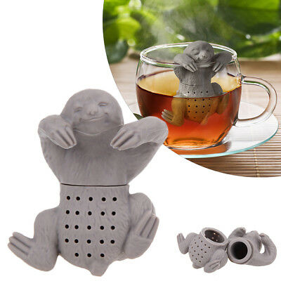 UK Sloth Shaped Loose Tea Leaf Infuser Heat Resistant Silicone Animal Brewer New