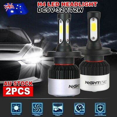 Nighteye 9000LM 72W H4 HB2 LED Headlight Kit Hi/Lo Beam Globe White Bulbs 6500K