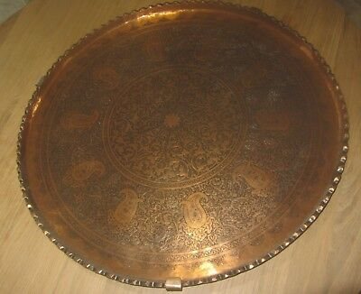 ANTIQUE PERSIAN QAJAR COPPER CHASED charger TRAY très grand plateau cuivre