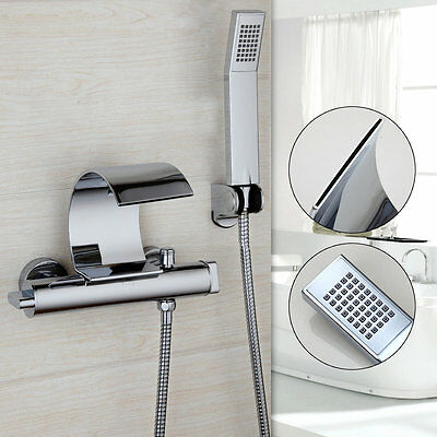 Contemporary Waterfall Bath Tub Faucet Wall Mount Chrome Finish With Hand Shower