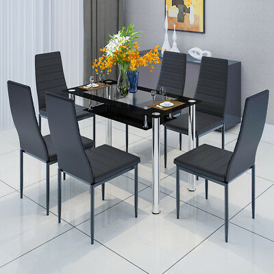 2-Tier Tempered Glass Table 4/6 Dining Chairs Set Metal Legs Dining Room Kitchen