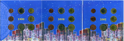 Belgien 3 Offiz. Kursmünzensätze 1999-2000-2001 EURO-INTRO-SET stg. Folder#3108