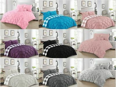 Duvet Cover Percale Chek Pintuck Quilt Covers Bedding Set Double Super King Size