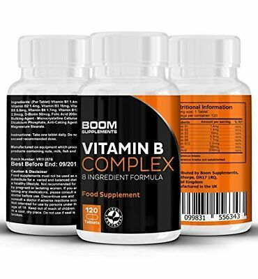 Vitamin B Complex High Strength 120 Tablets 4 Month Supply Contains 8 B Vitamins