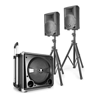 "Mobile 2.1 Aktiv Lautsprecher Set 15"" Subwoofer 2x8"" Boxen 900W Bluetooth USB SD"
