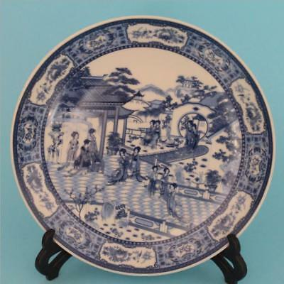 Chinese Antique Porcelain 12 Gold Indigo White Plate Home Decoration Collection