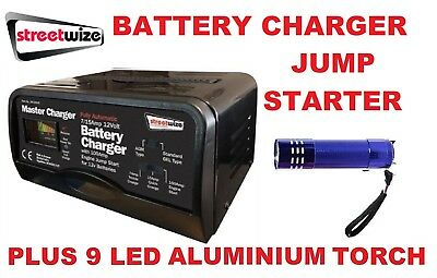 Streetwize 12v 7/15 Amp Car Battery Charger 100 Amp Starter SW100JS & LED Torch