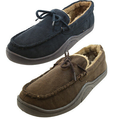 Mens Faux Suede Sheepskin Warm Fur Lined Moccasin slippers With Good Soles