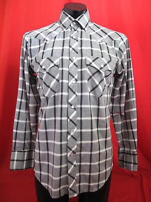 True Vintage 80's/90's Grey, White, Black Check Western Shirt Size M-L up to 42""