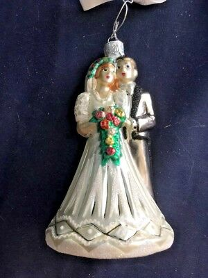"""Waterford Bride & Groom Wedding Glass Ornament Holiday Heirlooms Tags & Box, 6"""""""