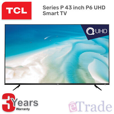 "TCL 43"" Inch UHD 4K LED Smart TV Netflix Youtube Wifi 43P6US + 3 Year Warranty"