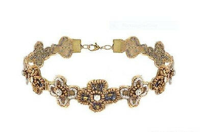 Fashion Leader Choker Necklace Cross Style Beads Silver / Bronze NEW Z0/16