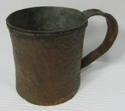 Vintage Heavy Hand Hammered Copper Mug Cup arts & crafts gothic folk art