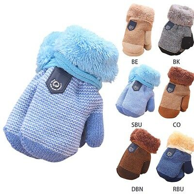 Cute Infant Kids Baby Girl Boy Winter Warm Gloves Thick Fur Knitted Mittens