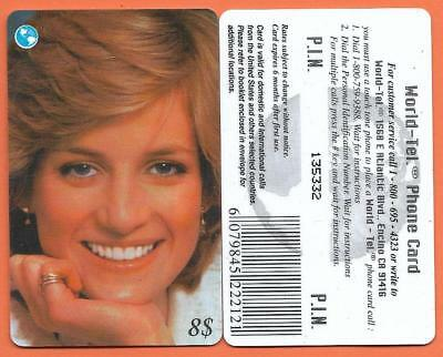 # CARTA TELEFONICA World Tel. - LADY  DIANA / 5 - USATA #