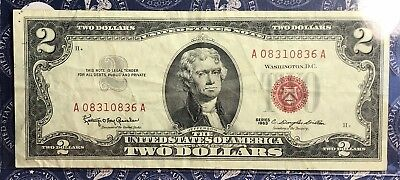 1963 $2 Dollar Bill Old Us Paper Money Currency Red Seal Collector Note. 0836A