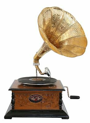 Antique style gramophone with a horn decorative wooden base (c)