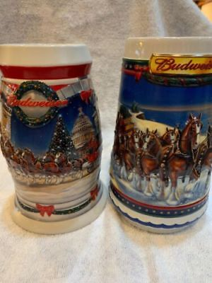 Budweiser CLYDESDALE Beer STEINS  2001 And 2002 Holiday Stein
