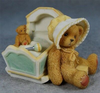 MIB Cherished Teddies AWAITING THE ARRIVAL New Baby Teddy Bear with Cradle #7438