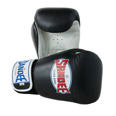 Sandee Authentic Leather Boxing Gloves Black Muay Thai Kick Sparring Mitts
